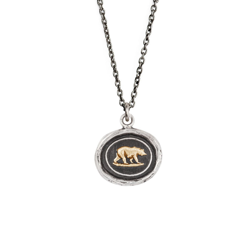 Mother Bear 14K Gold On Silver
