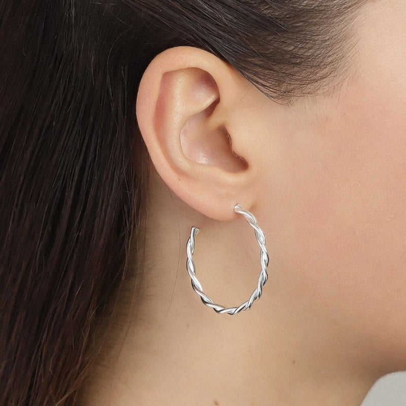 Naja Medium Silver Plated Twist Hoops