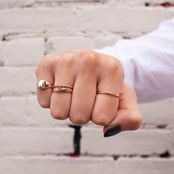 Double Twisted Rose Gold Vermeil Ring