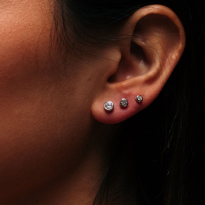 2mm Crystal Silver Studs