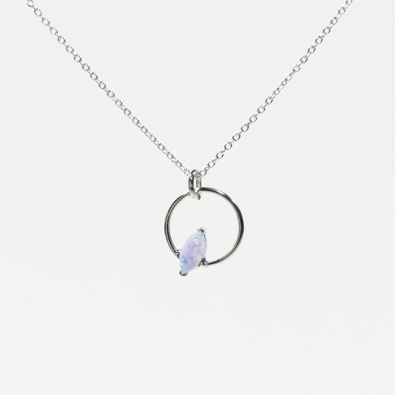 Blue Opal Silver Hoop Necklace