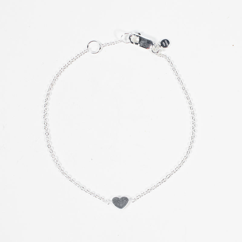 Flat Heart Brushed Silver Bracelet