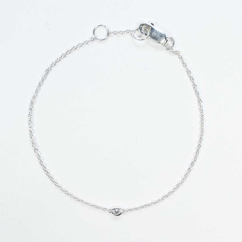 3mm Crystal Solitaire Silver Bracelet