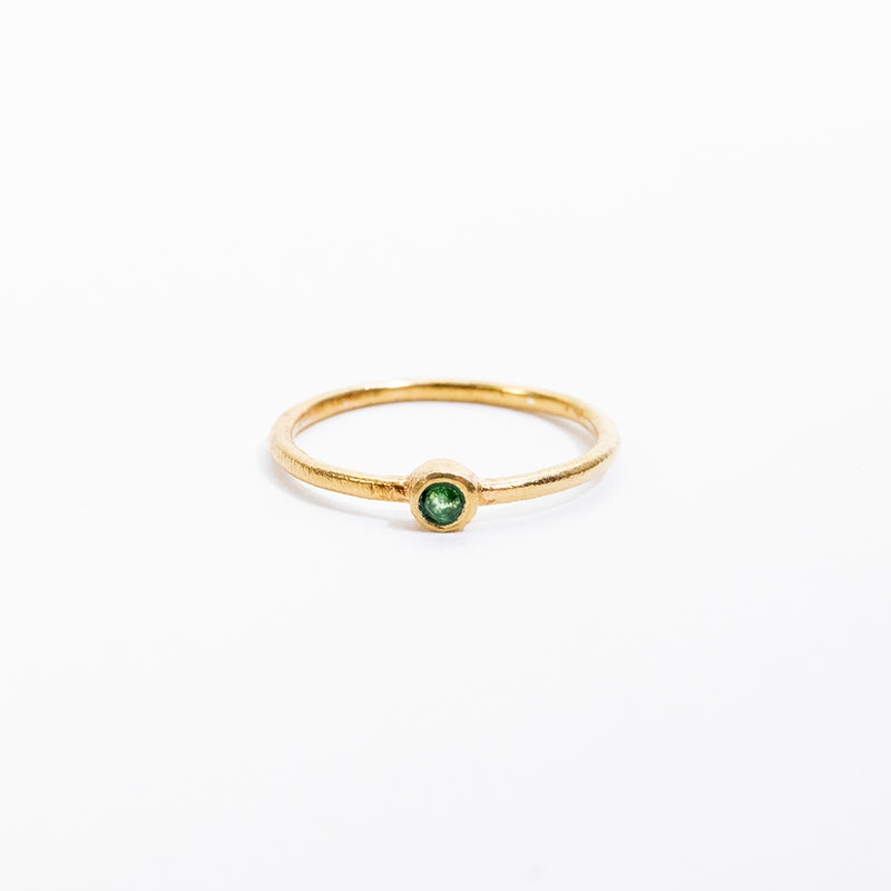 Round Small Peridot Gold Plated Ring