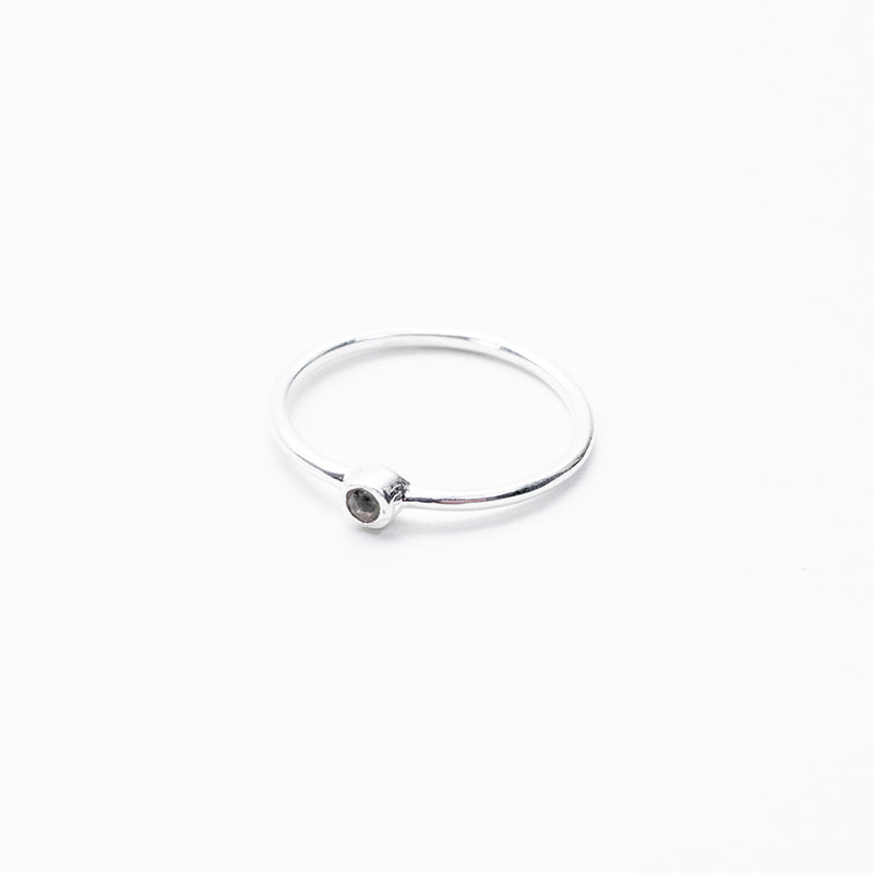 Round Small Moonstone Silver Ring
