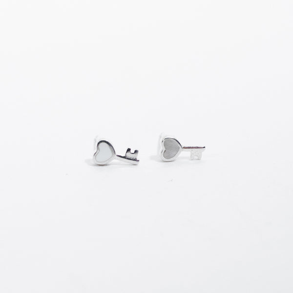 Mother of Pearl Key Silver Studs
