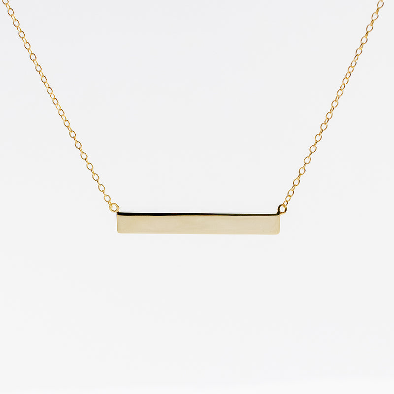 Engravable Bar Gold Plated Necklace