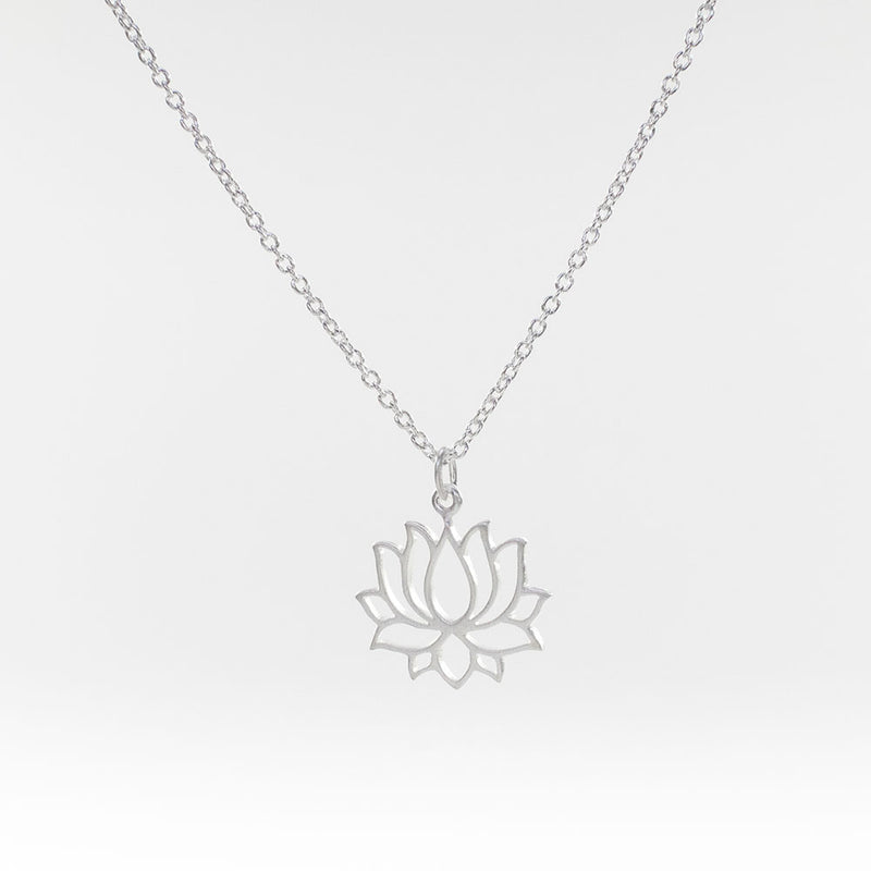 Lotus Brushed Silver Necklace