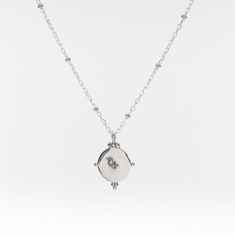 Indie Silver Disc Necklace