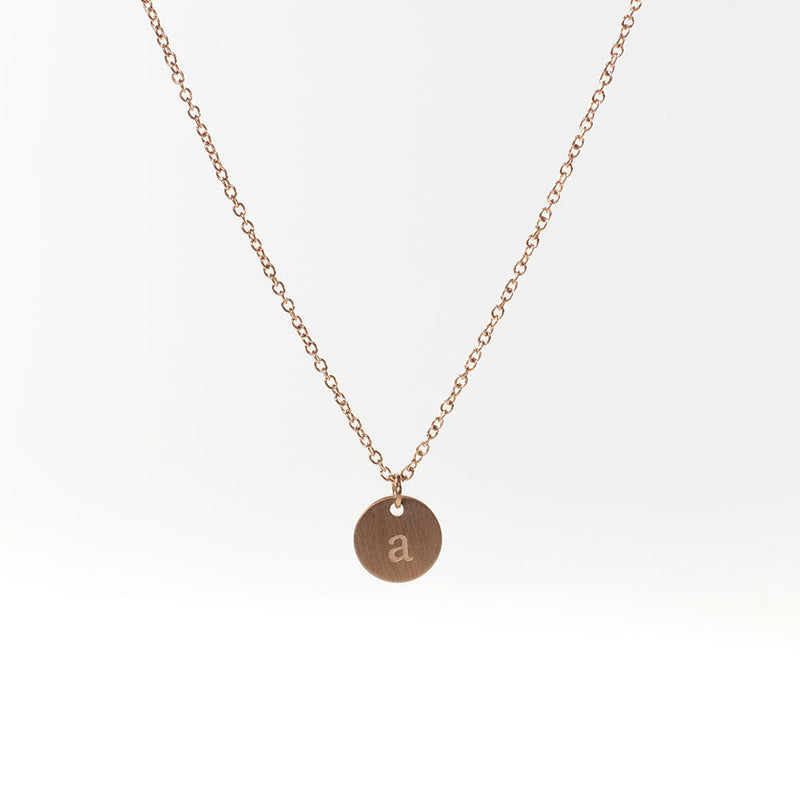 Initial Rose Gold Plated Necklace (lowercase)
