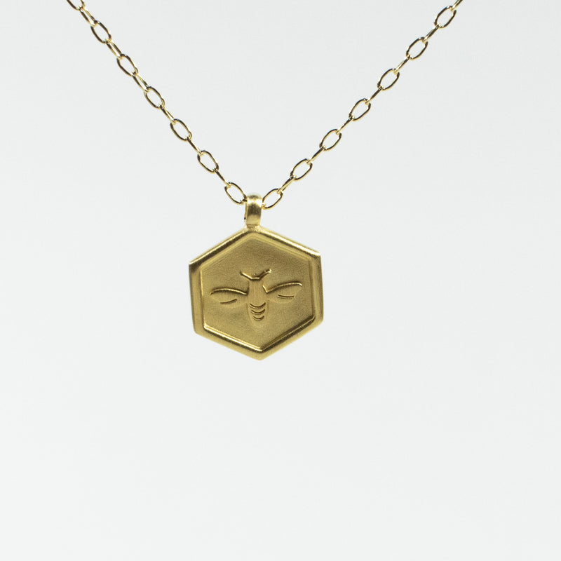 Hexagon Shaped Honeybee Brushed Gold Vermeil Necklace