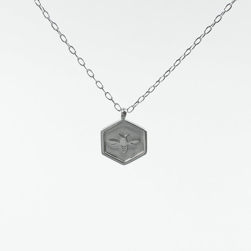 Hexagon Shaped Honeybee Brushed Silver Necklace