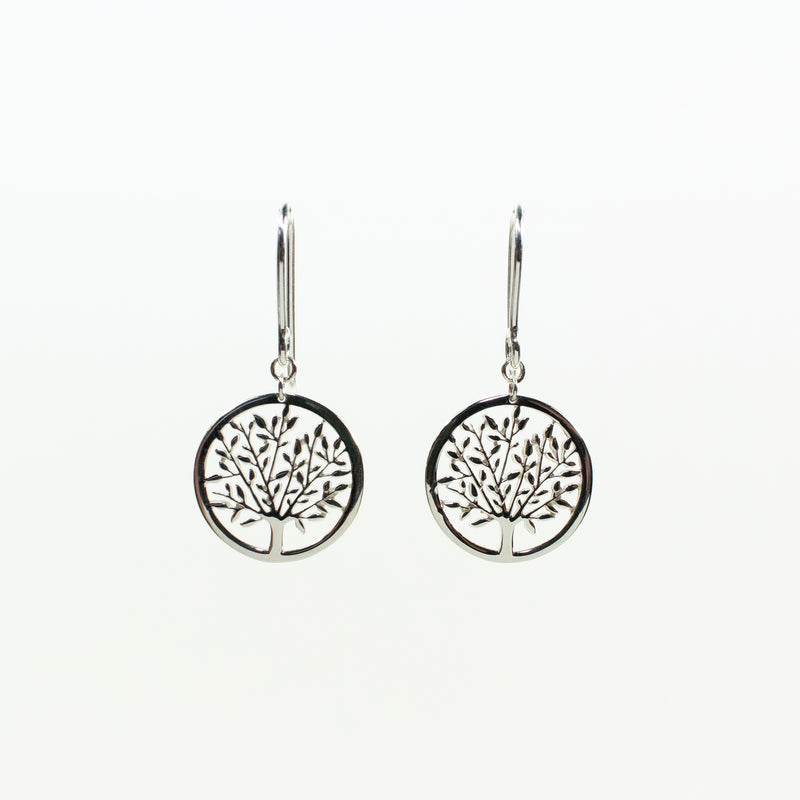 Cut Out Tree Silver Earrings