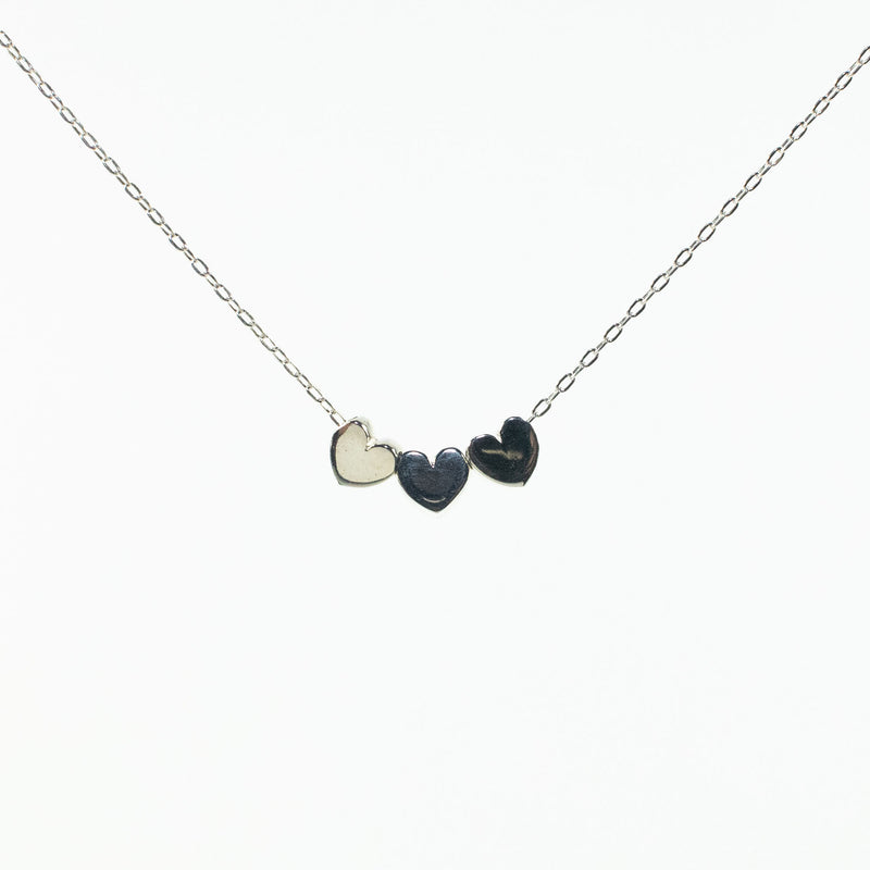 Triple Heart Small Puff Silver Necklace