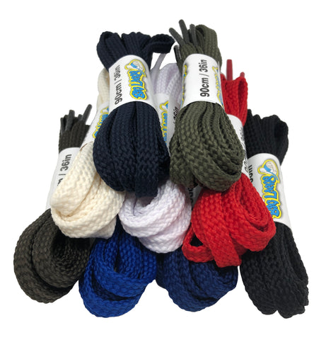 New style weave flat 7mm wide laces now in stock!