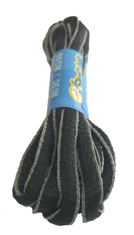 Black and Grey Oval Running Shoe Shoelaces