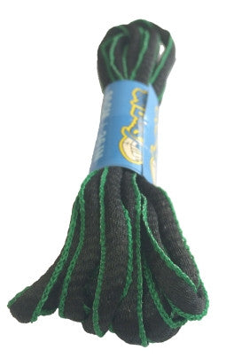 Black and Green Oval Running Shoe Shoelaces