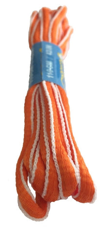 Orange and White Oval Running Shoe Shoelaces