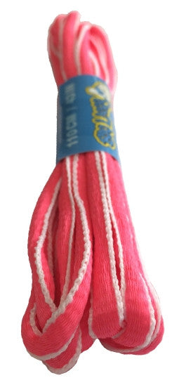 Neon Pink and White Oval Running Shoe Shoelaces