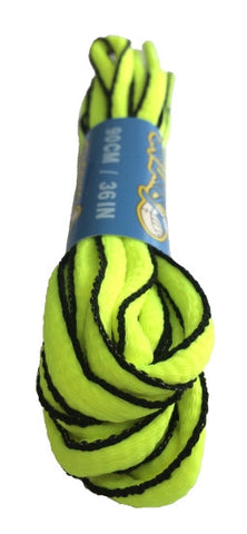 Neon Yellow and Black Oval Running Shoe Shoelaces