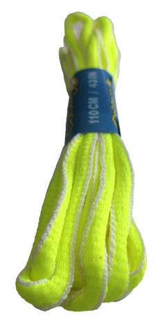 Neon Yellow and White Oval Running Shoe Shoelaces