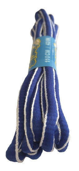 Royal Blue and White Oval Running Shoe Shoelaces
