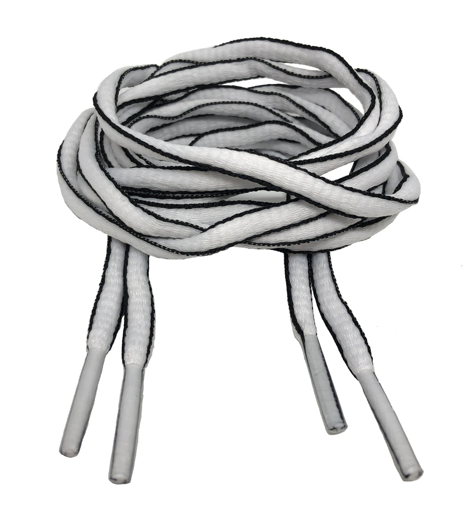 White and and Black Oval Running Shoe Shoelaces - 6mm wide