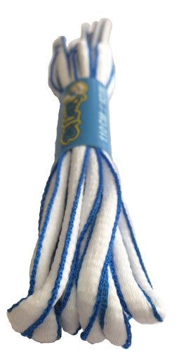 White and Electric Blue Oval Running Shoe Shoelaces