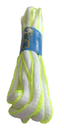White and Neon Yellow Oval Running Shoe Shoelaces