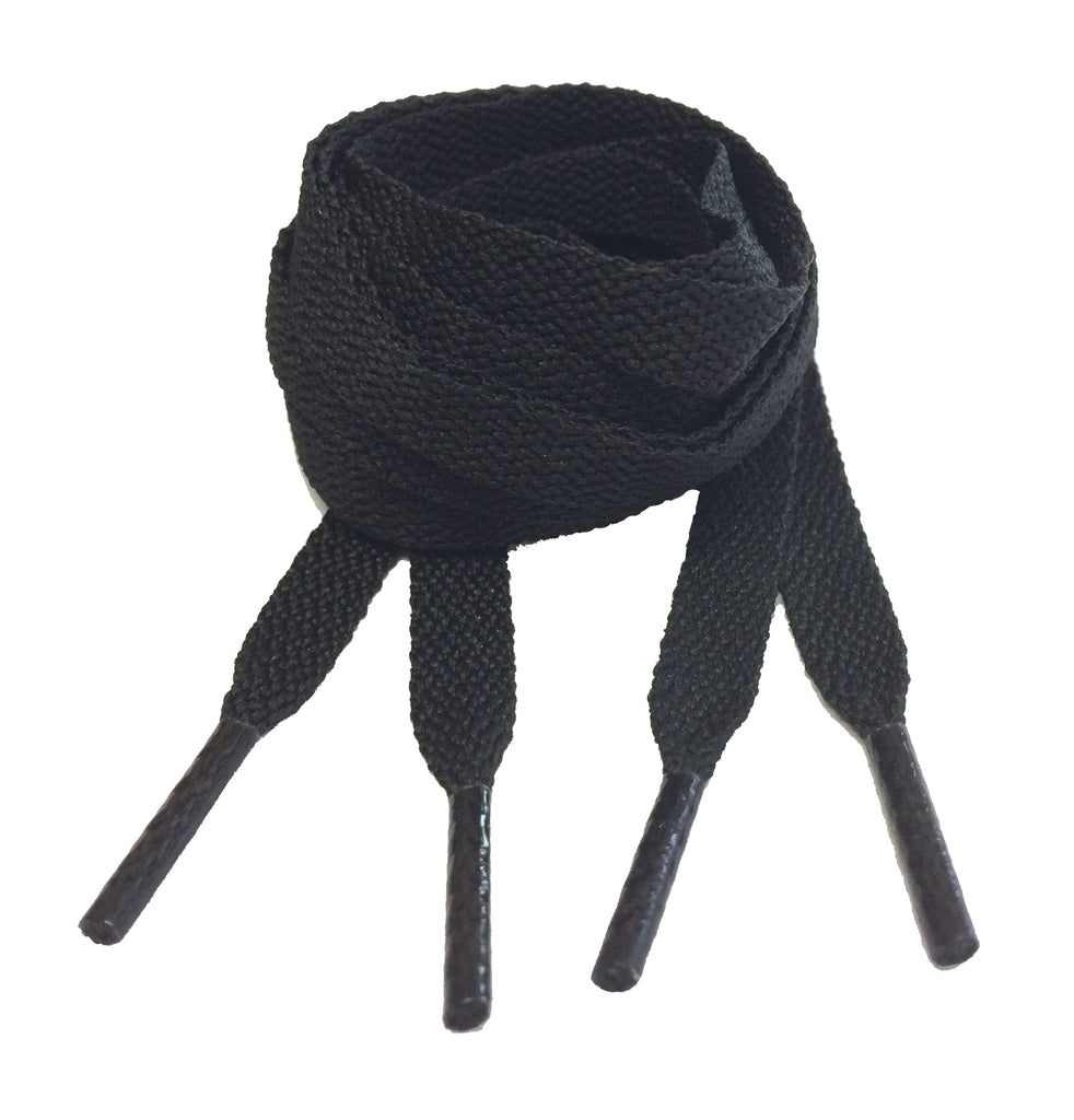 Flat Black 10mm wide shoelaces