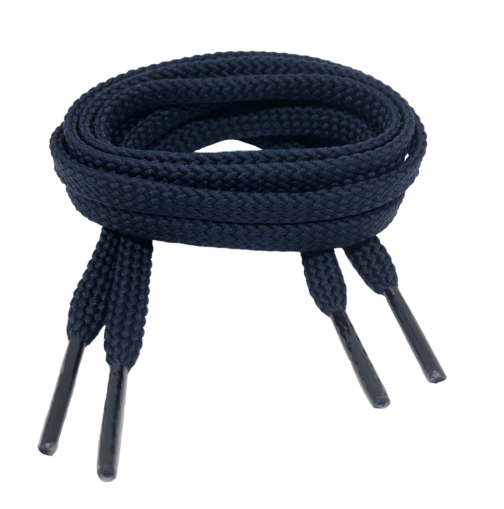 Flat Dark Navy Blue Shoelaces - 7mm wide