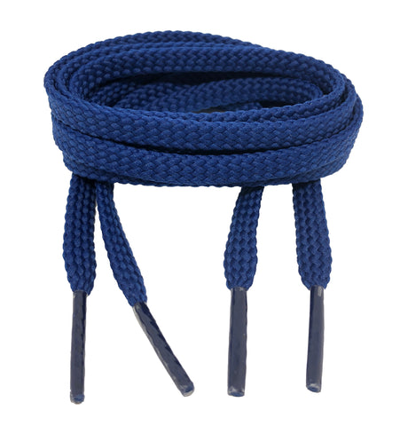 Flat French Navy Blue Shoelaces - 7mm wide
