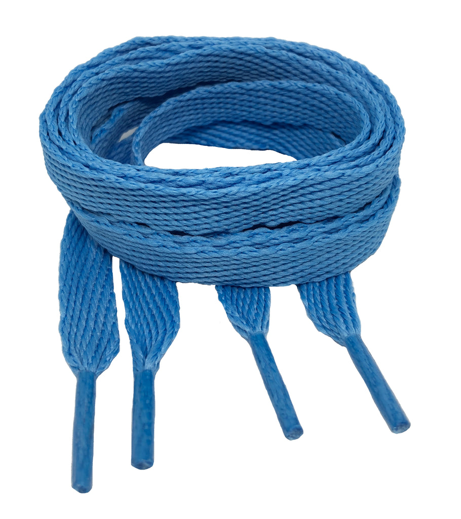 Flat Azure Blue Shoelaces - 10mm wide