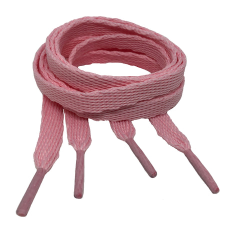 Flat Baby Pink Shoelaces - 10mm wide