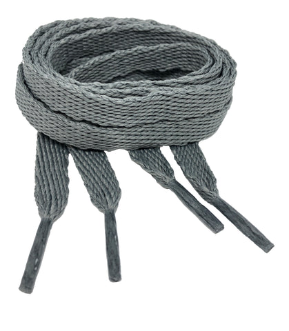 Flat Battleship Grey Shoelaces - 10mm wide