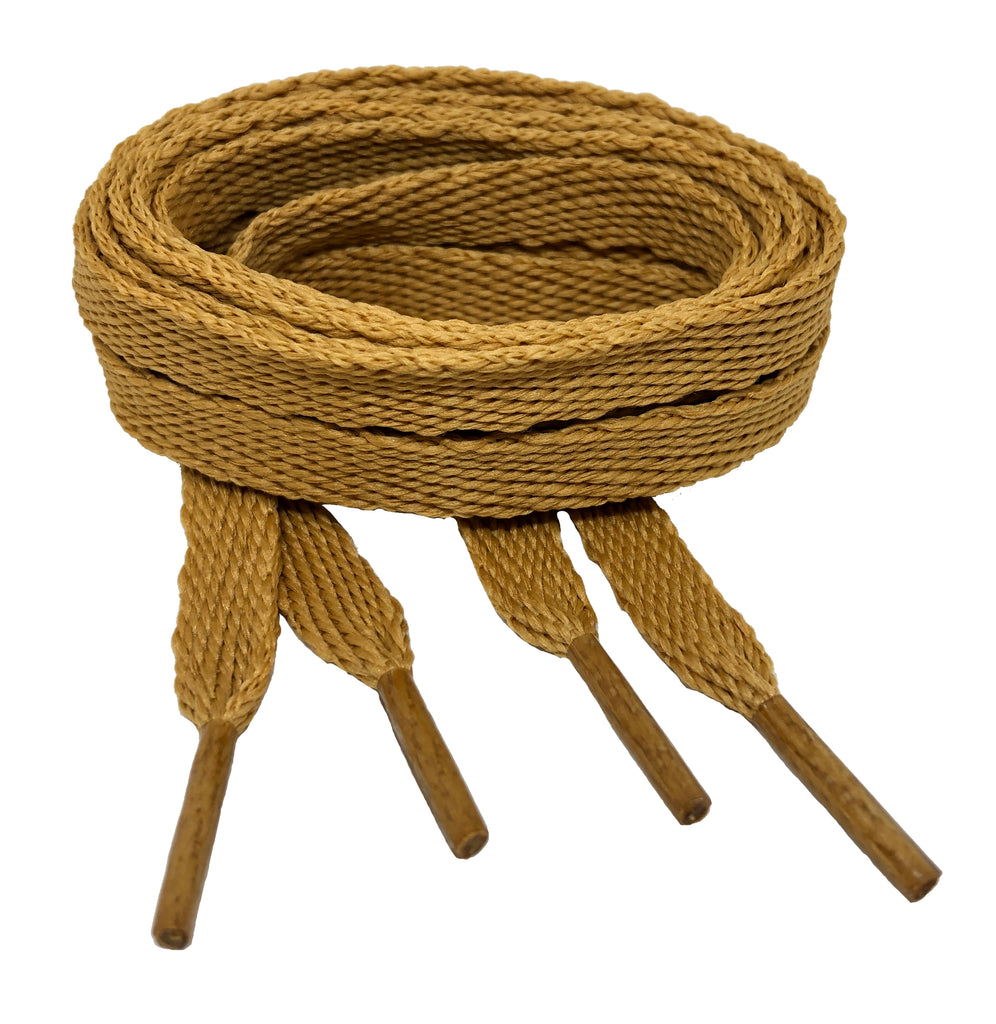 Flat Caramel Brown Shoelaces - 10mm wide