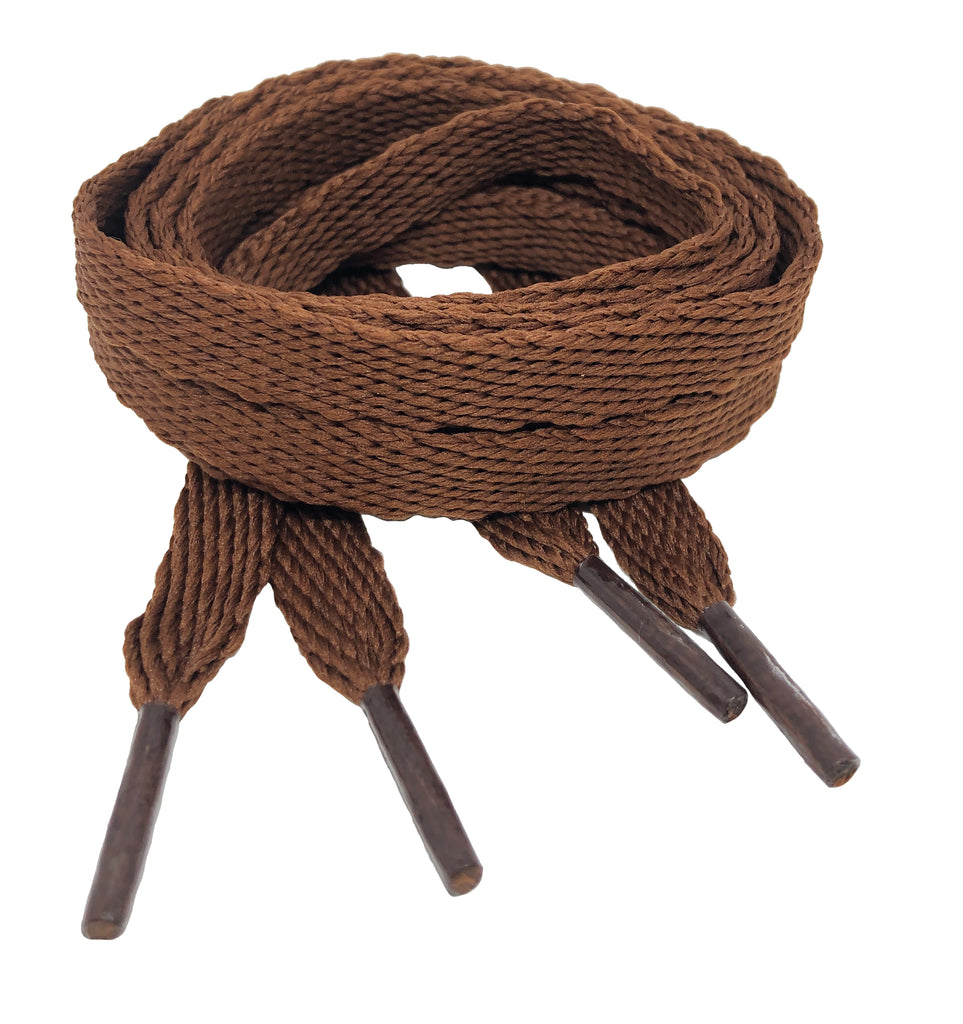 Flat Chocolate Brown Shoelaces - 10mm wide