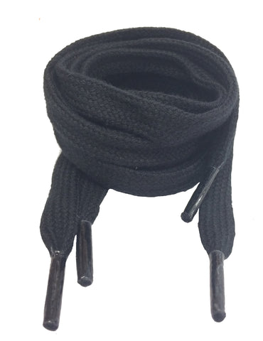Flat Black Cotton Shoelaces
