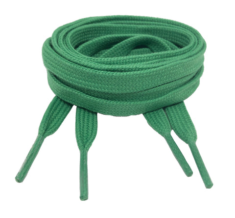 Flat Green Cotton Shoelaces