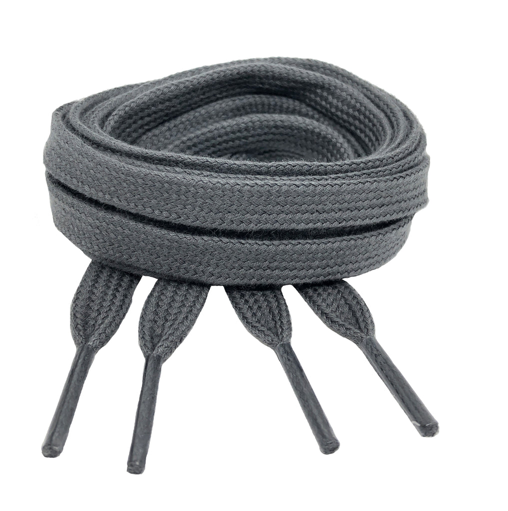 Flat Grey Cotton Shoelaces - 8mm wide