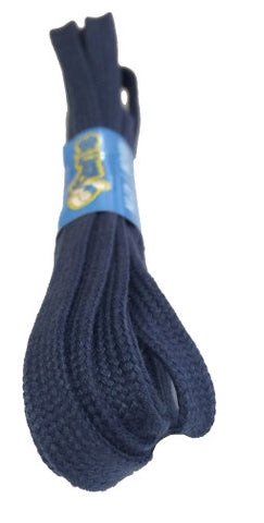 Flat Navy Blue Cotton Shoelaces