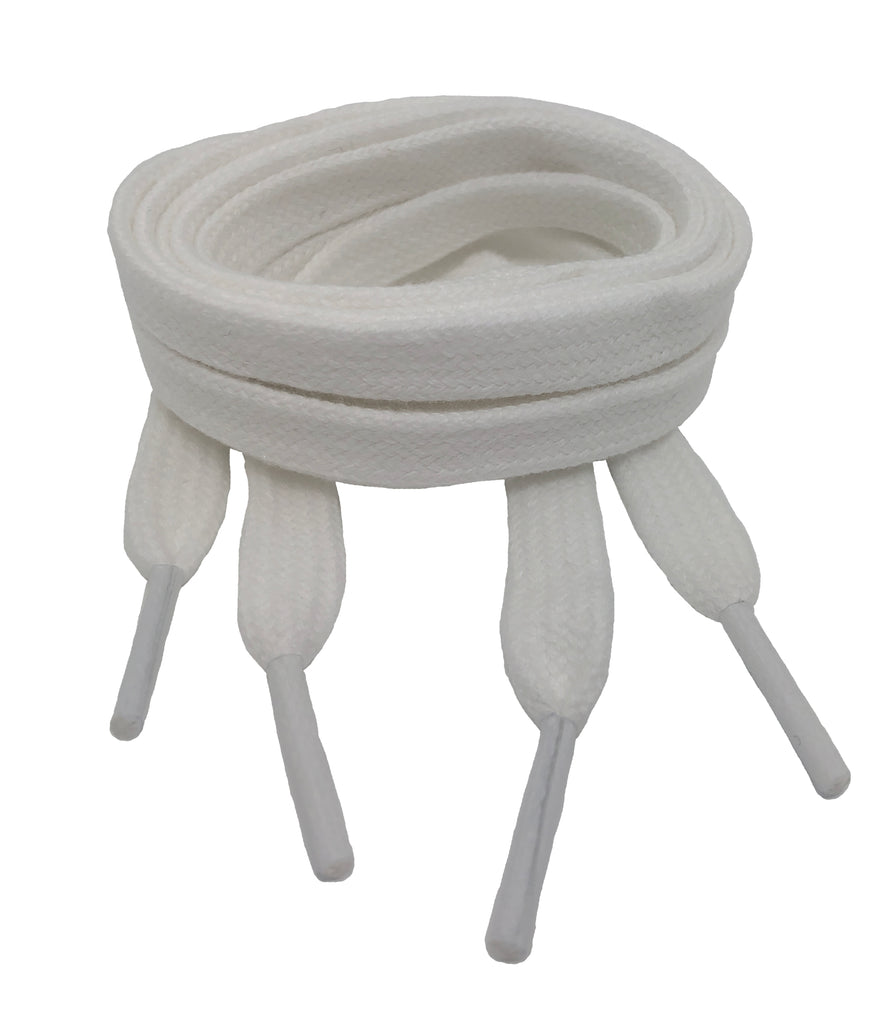Flat White Cotton Shoelaces