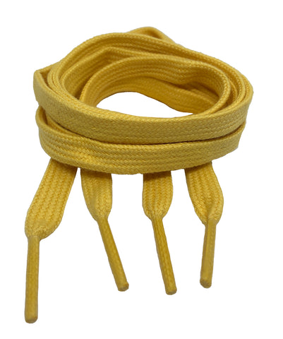 Flat Yellow Cotton Shoelaces - 8mm wide