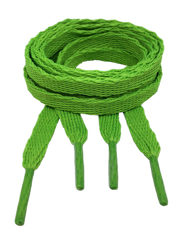 Flat Neon Green Shoelaces - 10mm wide