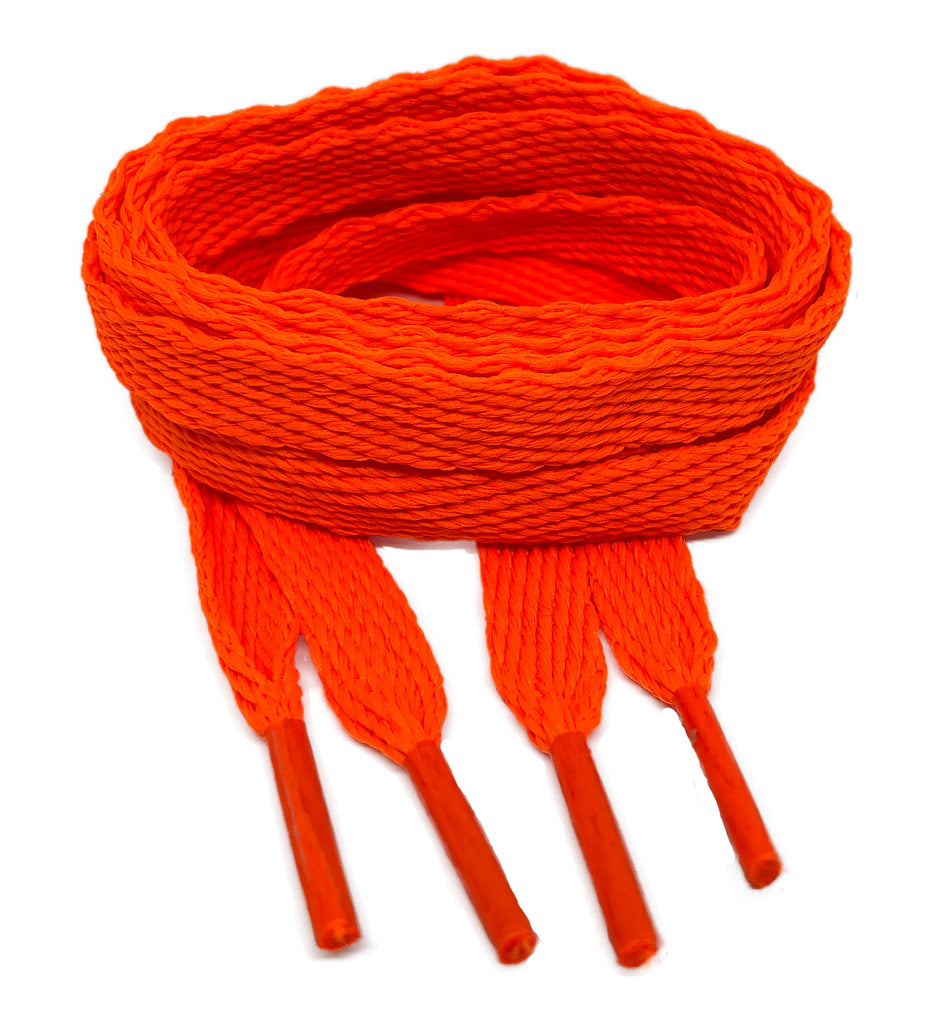 Flat Neon Orange Shoelaces - 10mm wide