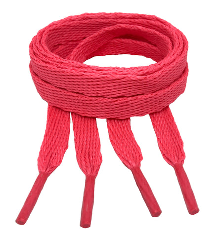 Flat Neon Pink Shoelaces - 10mm wide