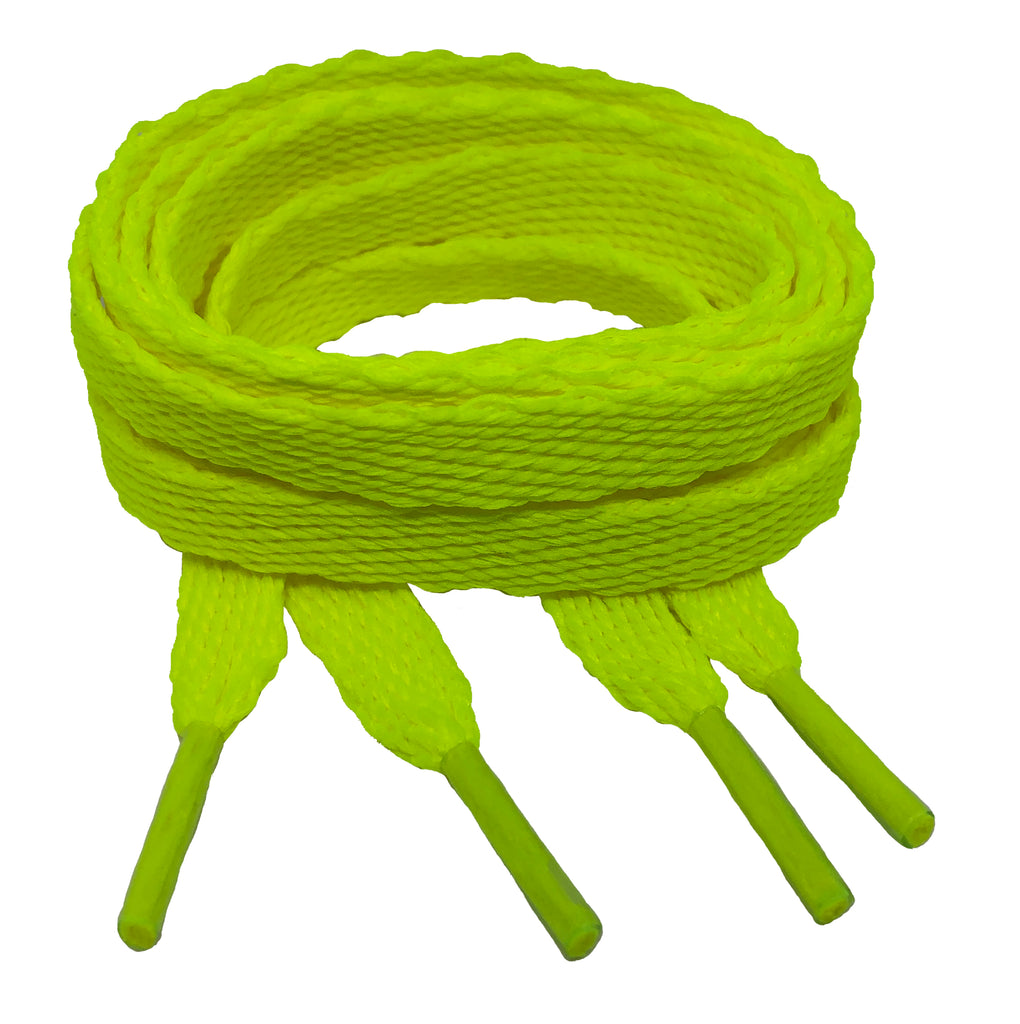 Flat Neon Yellow Shoelaces - 10mm wide
