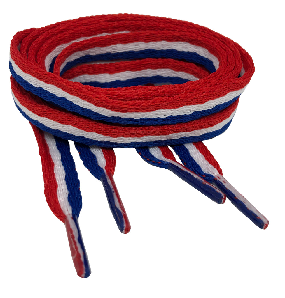 Flat Red White Blue Shoelaces - 10mm wide