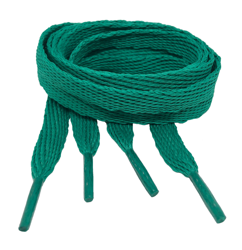 Flat Sea Green Shoelaces - 10mm wide
