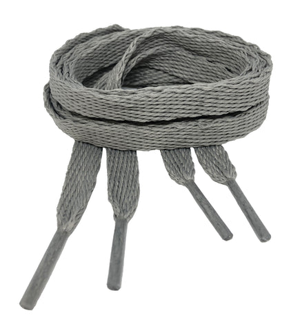 Flat Silver Grey Shoelaces - 10mm wide